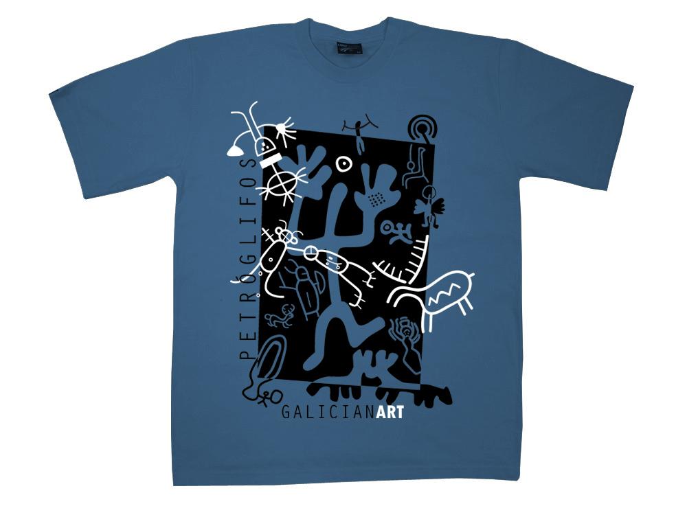 Camiseta Petroglifo azul Unisex